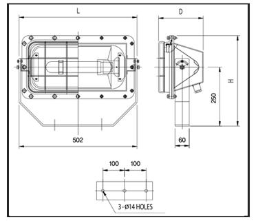 H.P.-SODIUM-FLOOD-LIGHTS-PFSI-IP68-Technical-Drawing