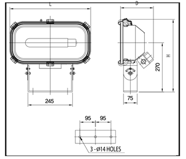 H.P.SODIUM-FLOOD-LIGHTS-Technical-Drawing